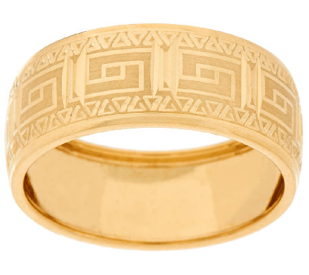 14K Gold Polished Greek Key Design Band Ring