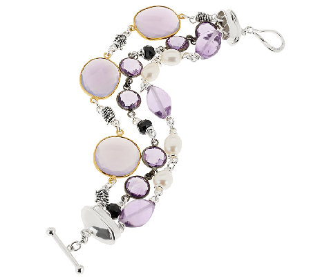 Michael Dawkins Sterling 36.00 ct tw Multi-Gemstone Toggle Bracelet