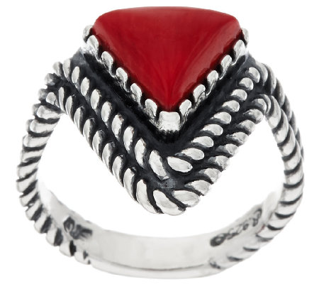 Gemstone Chevron Design Sterling Ring by American West