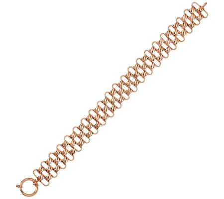 """As Is"" 14K 8"" Textured & Diamond Cut Woven Bracelet, 12.4g"