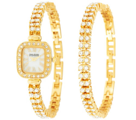 """As Is"" Joan Rivers Red Carpet Classic Crystal Watch & Bracelet Set"