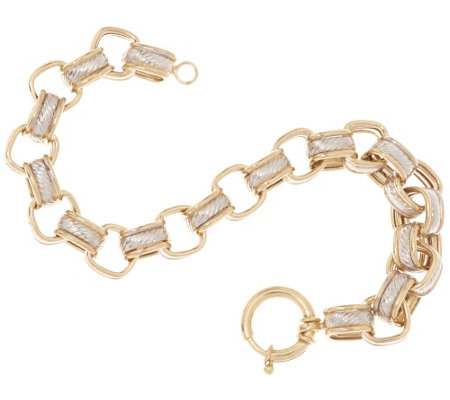 """As Is""14K Gold 7-1/4"" Polished & Textured Square Rolo Bracelet, 11.4g"