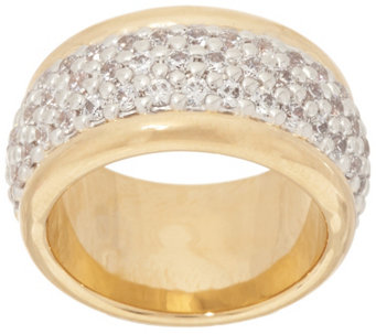"""As Is"" Oro Nuovo Pave Crystal Polished Band Ring, 14K - J326163"