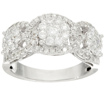 3-Stone Cluster Design Diamond Ring, 14K, 1.00 cttw, by Affinity - J326863