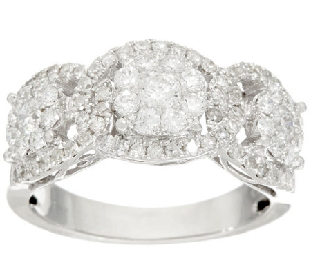 3-Stone Cluster Design Diamond Ring, 14K, 1.00 cttw, by Affinity