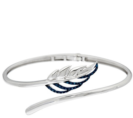 Diamond Feather Bypass Cuff, Sterling, 1/7 cttw, by Affinity