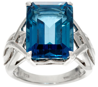 Emerald Cut London Blue Topaz Sterling Silver Ring 12.00 cts - J329263