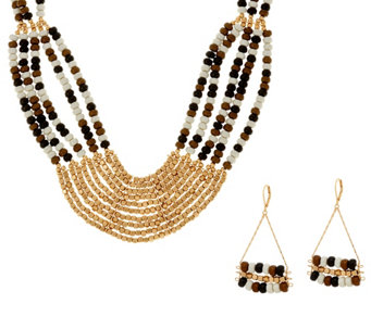 Linea by Louis Dell'Olio Multi-bead Necklace & Earring Set - J329563