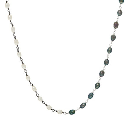 "Luv Tia Sterling Ying & Yang Cultured Pearl 26"" Necklace"