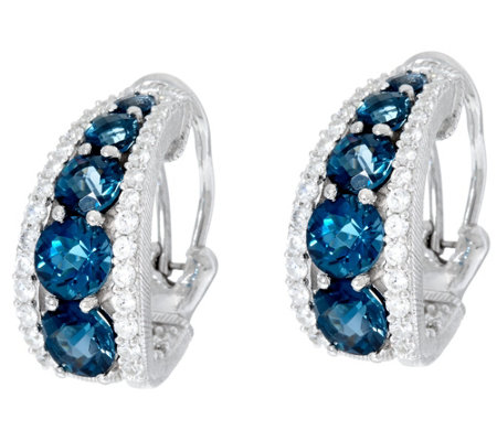 Judith Ripka Sterling 5.00 cttw Blue Topaz Tapered Hoop Earrings