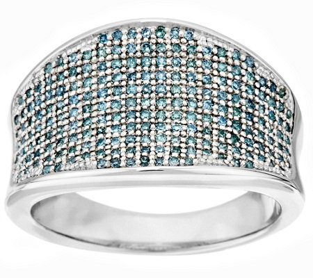 """As Is"" Aqua Pave' Saddle Diamond Ring, Sterling 1/2ct by Affinity"