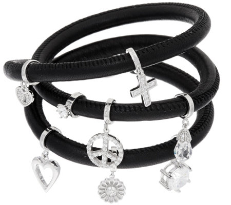 """As Is"" Diamonique Charm Leather Wrap Bracelet, Sterling"