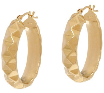 "Dieci 1"" Pyramid Design Oval Hoop Earrings 10K Gold - J332263"