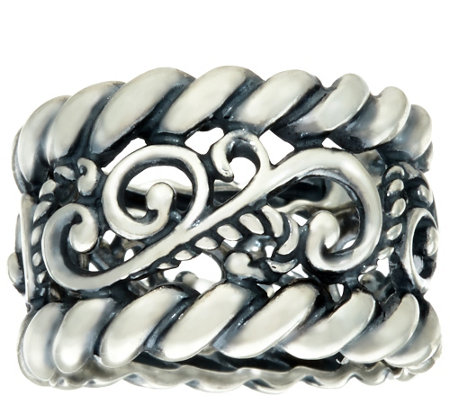 """As Is"" Carolyn Pollack Sterling Signature Rope Design BandRing"