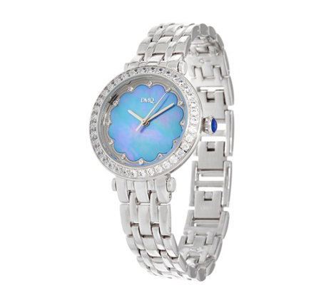 Diamonique Scalloped Mother-of-Pearl Bracelet Watch