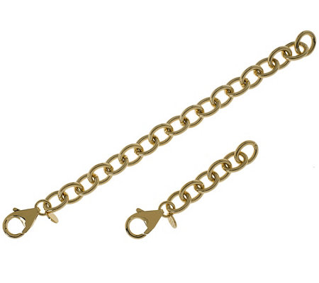 "Bronzo Italia Set of 2 Oval Rolo Link Extenders 2-1/4"", 5-1/4"""