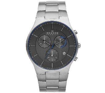 Skagen Men's Titanium Black Dial Bracelet Watch - J337063