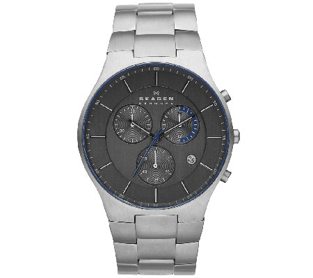 Skagen Men's Titanium Black Dial Bracelet Watch
