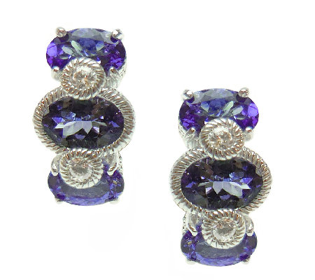 Judith Ripka Sterling Tanzanite & Diamonique Earrings