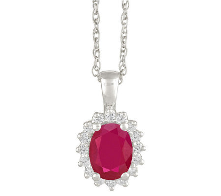 Premier 1.25cttw Oval Ruby & Diamond Pendant, 14K