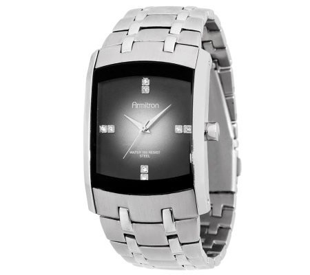 Armitron Men's Rectangular Stainless Steel Analog Watch
