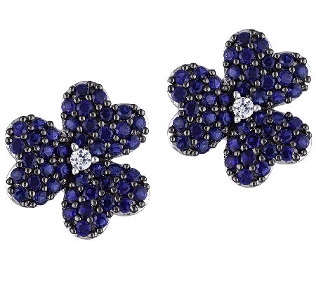 1.85ct Simulated Blue Sapphire Flower Stud Earrings, Sterling