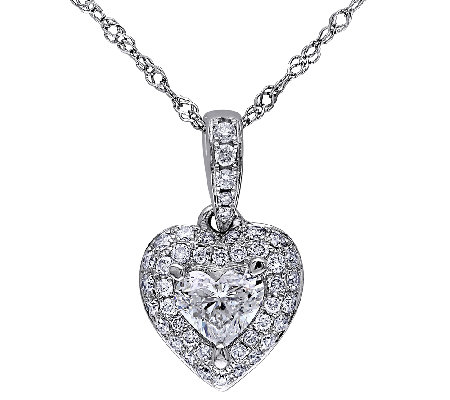 Diamond Heart Pendant, 1/2cttw, 14K White Gold,by Affinity
