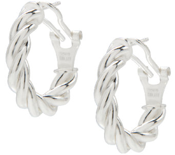 "UltraFine Silver 3/4"" Twisted Omega Back Hoop Earrings - J339963"