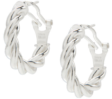 "UltraFine Silver 3/4"" Twisted Omega Back Hoop Earrings"