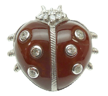 Judith Ripka Sterling Dyed Cornelian Lady Bug P in