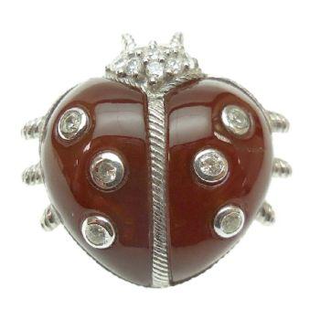 Judith Ripka Sterling Silver Dyed CarnelianLady Bug Pin
