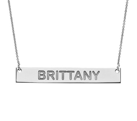 Large Polished Personalized Bar Necklace, 14K
