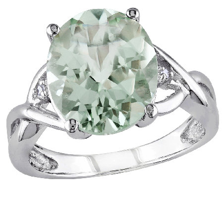 4.30cttw Oval Green Amethyst Ring, Sterling Silver