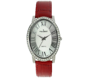 Peugeot Women's Silvertone & Red Leather StrapWatch - J341163