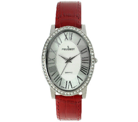 Peugeot Women's Silvertone & Red Leather StrapWatch
