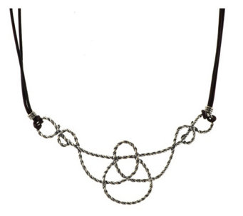 American West Lasso Rope Sterling & LeatherNecklace - J341463