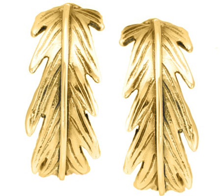 "Hagit Sterling and 14K Clad 3/4"" Feather Hoop Earrings"