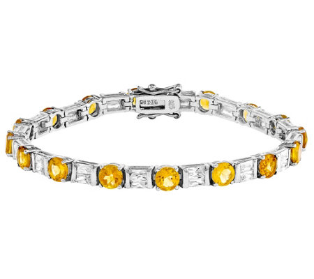 "Sterling Gemstone & Crystal 7-1/4"" Bracelet"