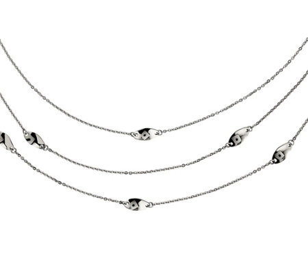 "Steel by Design Multi-Chain Swirl Layered 37"" Necklace"