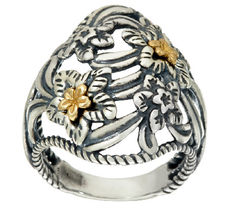 Carolyn Pollack Sterling Silver & Brass DesertRose Ring