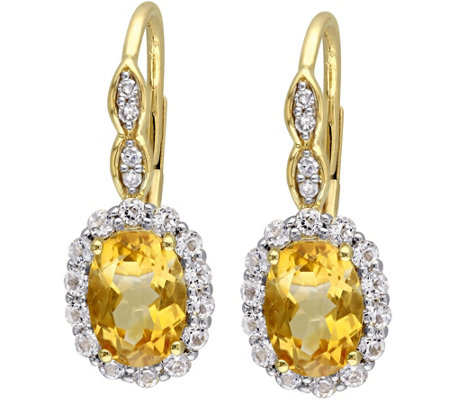 1.40 cttw Citrine & 0.80 ct White Topaz Earrings, 14K