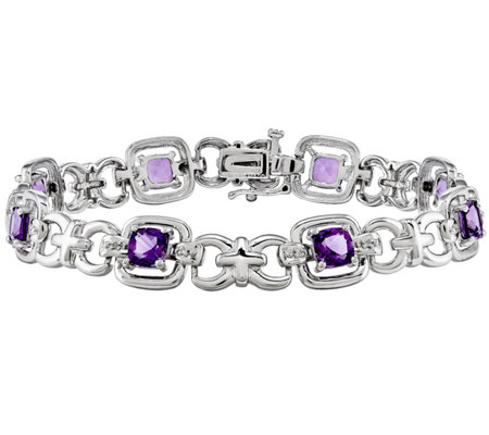 "Sterling Gemstone & Diamond Accent 7-1/2"" Bracelet"