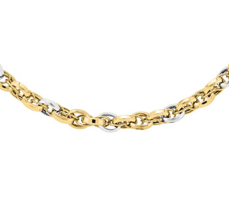 "14K Gold Two-Tone Polished & Textured 18-1/4"" Necklace"