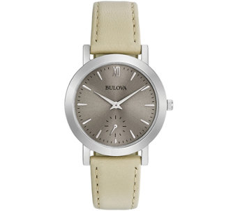 Bulova Women's White Leather Strap Watch - J343863
