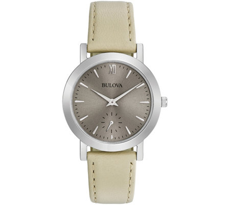 Bulova Women's White Leather Strap Watch