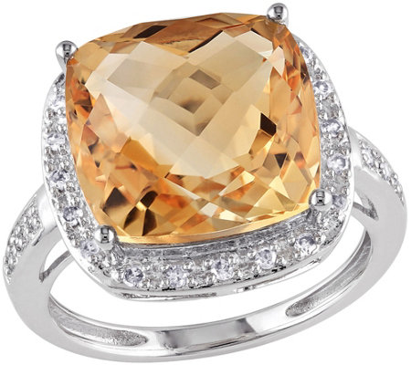 6.20 ct Citrine & 1/10 cttw Diamond Ring, 14K White Gold