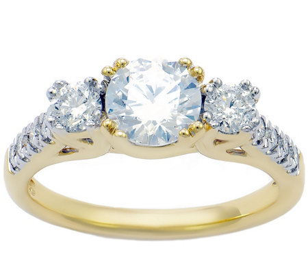 3-Stone Diamond Bridal Ring, 14K, 1.50 cttw by Affinity