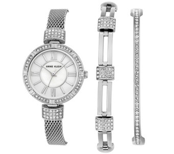 Anne Klein Silvertone Watch & Swarovski CrystalBracelet Set - J344763