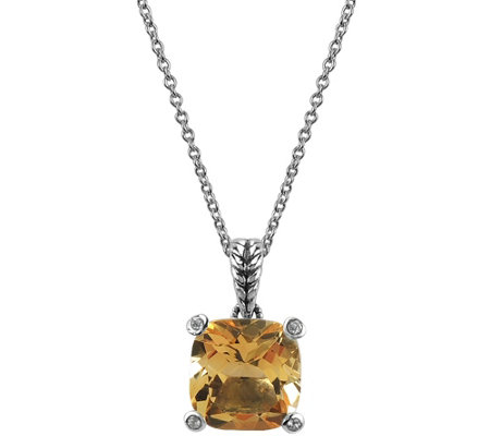 "Cushion-Cut Gemstone Pendant with 18"" Chain, Sterling"