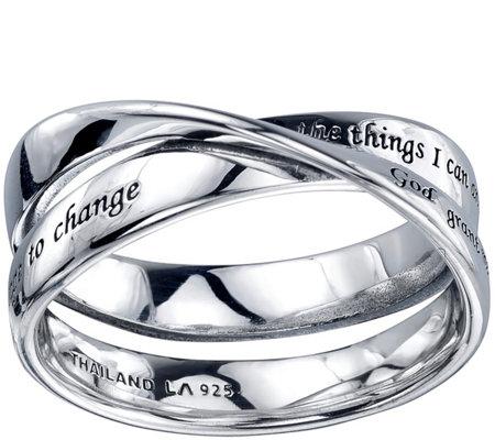 extraordinary sterling serenity prayer ring qvc